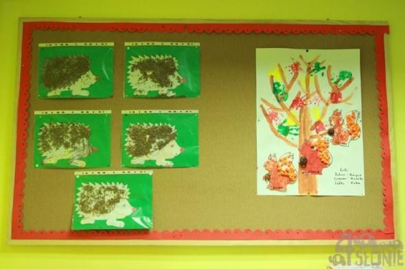 Jeżyki i wiewiórki na drzewie, prace przedszkolaków