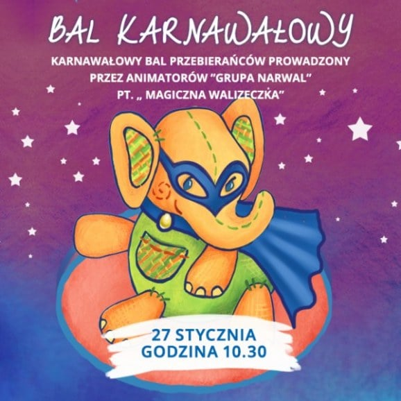 Bal karnawałowy w Przedszkolu 4 Słonie. 27 I 2017, godz. 10:30