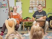 Piegunia i Brynio - afrykański koncert w przedszkolu 4 Słonie. 15 IX 2018 r.